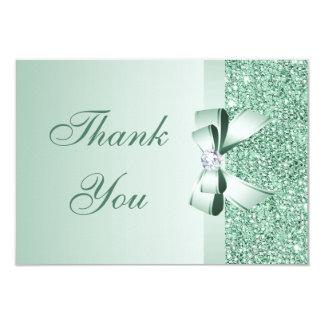 Mint Sequins, Bow & Diamond Thank You Wedding Announcements