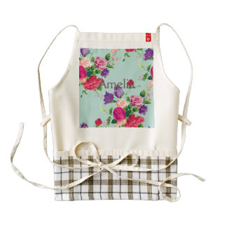mint,shabby chic,girly,trendy,vintage,roses,floral zazzle HEART apron