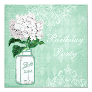 Mint Shabby Chic Jar & Hydrangea Birthday Party Card
