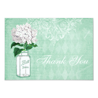 Mint Shabby Chic Jar & Hydrangea Thank You Wedding Card