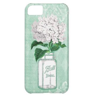 Mint Shabby Chic Mason Jar & Hydrangea Case For iPhone 5C