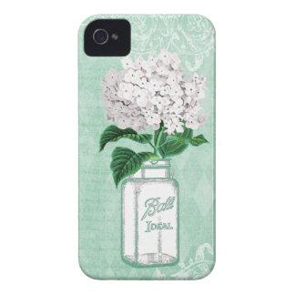 Mint Shabby Chic Mason Jar & Hydrangea iPhone 4 Covers
