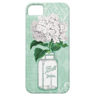 Mint Shabby Chic Mason Jar & Hydrangea iPhone 5 Cover