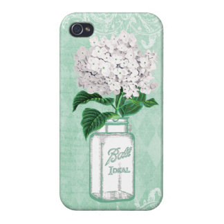 Mint Shabby Chic Mason Jar & Hydrangea iPhone 4/4S Case