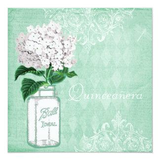 Mint Shabby Chic Mason Jar & Hydrangea Quinceanera 5.25x5.25 Square Paper Invitation Card