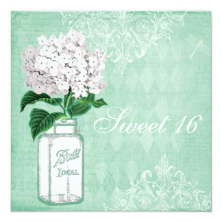 Mint Shabby Chic Mason Jar & Hydrangea Sweet 16 5.25x5.25 Square Paper Invitation Card