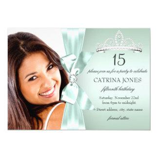 Mint Silver Diamond Bow & Tiara Quinceanera Invite