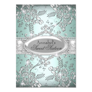 "Mint Silver Sparkle Flower Sweet 16 Invite 4.5"" X 6.25"" Invitation Card"