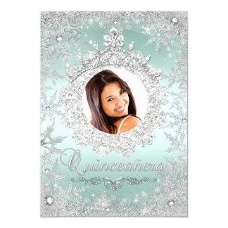 Mint Silver Tiara Snowflake Sparkle Quinceanera Card