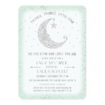Toddler & Baby themed Mint Silver Twinkle Little Star Baby Shower Card