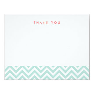 Mint Simple Chevron Thank You Note Cards