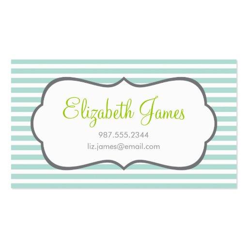 Mint Skinny Stripe Business Card Templates