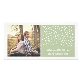 Mint Snow Fall Christmas Holiday Photo Cards