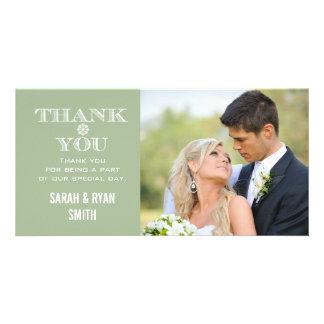 Mint Snowflake Wedding Photo Thank You Cards Photo Card