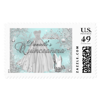 Mint Sparkle Snowflake Quinceanera Stamp