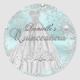 Mint Sparkle Snowflake Quinceanera Sticker