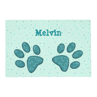 mint sparkling cat paw print - laminated placemat