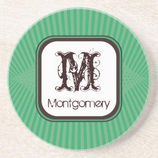 Mint Spring Rays Monogram Coaster