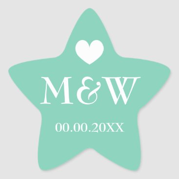 Beach Themed Mint star fish monogram wedding favor stickers