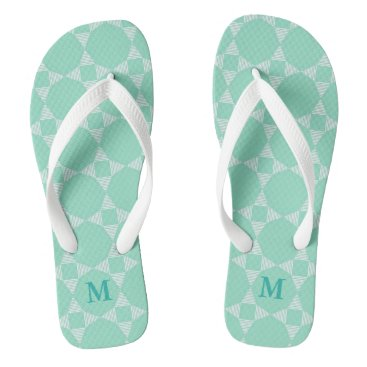 Beach Themed Mint Star pattern white stripes Monogram Flip Flops