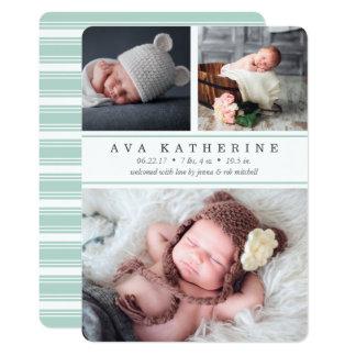 Mint Stripe | Photo Collage Birth Announcement