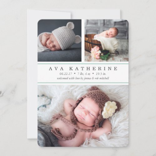 Mint Stripe  Photo Collage Birth Announcement