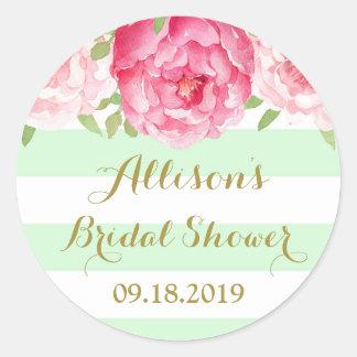 Mint Stripe Pink Floral Bridal Shower Favor Tag