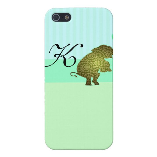 Mint Stripes Elephant Monogrammed Iphone 5 Case