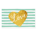 Mint Stripes Fake Gold Love Heart Cute Girly Double-Sided Standard Business Cards (Pack Of 100)