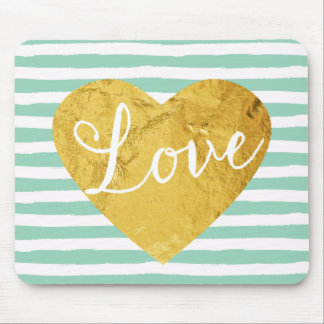 Mint Stripes Fake Gold Love Heart Cute Girly Mouse Pad
