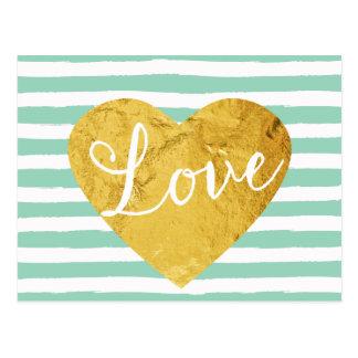 Mint Stripes Fake Gold Love Heart Cute Girly Postcard