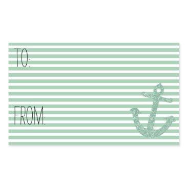 Beach Themed Mint Stripes Faux Glitter Anchor Gift Tag