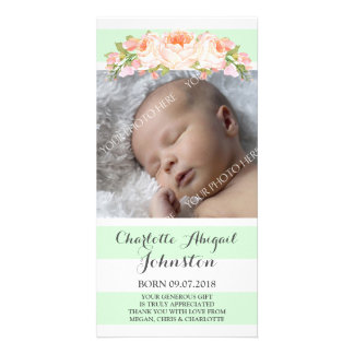 Mint Stripes Floral Thank You Baby Shower Card