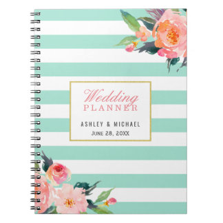 Mint Stripes Floral Wedding Planner Guestbook Spiral Notebook