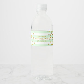 Mint Stripes Gold Confetti Baby Shower Label
