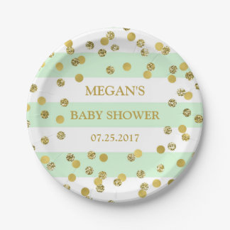 Mint Stripes Gold Confetti Baby Shower Plate