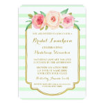 Mint Stripes Gold Pink Floral Bridal Lunch Card