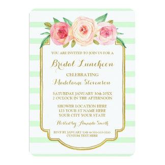 Mint Stripes Gold Pink Floral Bridal Lunch Card