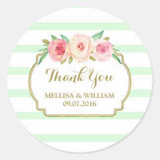Mint Stripes Gold Pink Floral Wedding Favor Tags