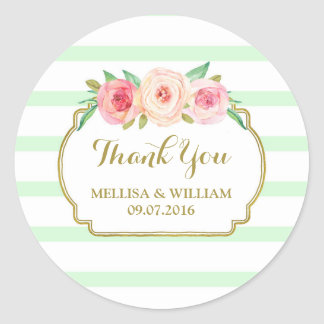 Mint Stripes Gold Pink Floral Wedding Favor Tags Classic Round Sticker
