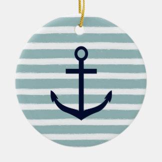 Mint Stripes Nautical Anchor Ceramic Ornament