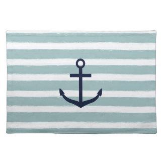 Mint Stripes Nautical Anchor Cloth Placemat