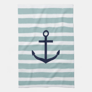 Mint Stripes Nautical Anchor Towel