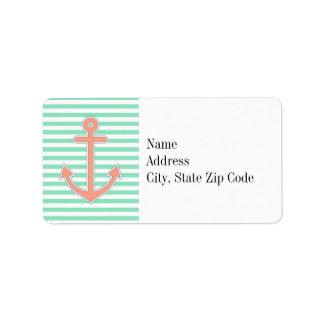 Mint Stripes Peach Anchor Nautical Address Label