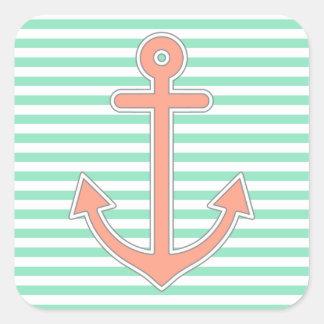 Mint Stripes Peach Anchor Nautical Square Sticker