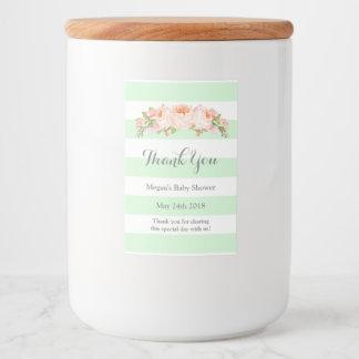 Mint Stripes Peach Floral Baby Shower Label