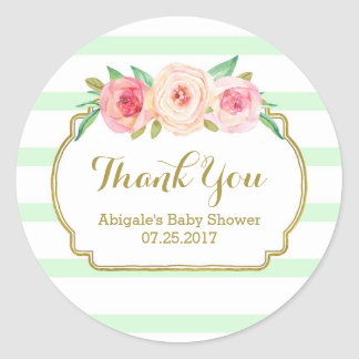 Mint Stripes Pink Floral Baby Shower Favor Tags Classic Round Sticker