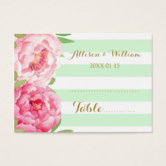 Mint Stripes Pink Floral Table Place Setting Cards at Zazzle