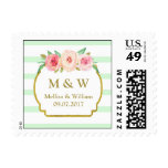 Mint Stripes Pink Floral Wedding Monogram Stamps