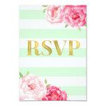 Mint Stripes Pink Flowers Gold Wedding RSVP Card